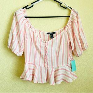 Peachy Blush Pink off shoulder top